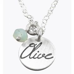 SILVER NAME AND BIRTHSTONE NECKLACE -  A pretty little sterling silver disc with your choice of wording (up to 5 letters) and stone! Perfect little gift for your daughter, bridesmaids, your husbands name or even your favorite word.