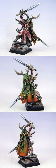 I like the gradient on the cape.  IronHalo.net Miniature Painting - Female Wood Elf Lord