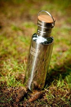 Reusable metal and bamboo water bottle, sustainable and plastic free - for the outdoorsy or health obsessed | Klean Kanteen $29.95