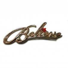 Believe Pin in Script with Red Star, Gold-Plated