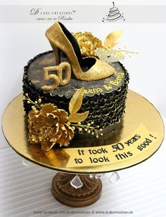 3 Tier 50th Birthday Ruffle Cake Black White And Gold 50