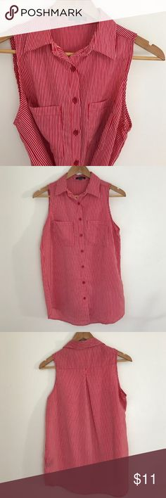 Sleeveless Pinstripe Top Red and White Pinstripe - Sleeveless - 2 Chest Pockets - Button Up - Gently Used Condition - Offers Welcomed Timing Tops