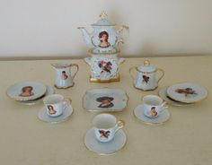 The BEST Antique FRENCH VICTORIAN Miniature Child Doll Porcelain Tea Set w/ PORTRAITS