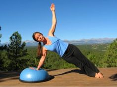 Yoga Side Plank Pose on the Bosu Ball. The instability of the Bosu makes this harder and really engages your core!