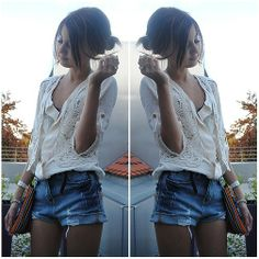 I want that top!!!  New Look Blouse, Zara Lace Vest, Berschka Ripped Highwaist Shorts, Boho Bag