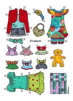 Karen`s Paper Dolls: Elisabeth 1-4 Paper Doll to Print in Colours. Elisabeth 1-4…