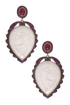 White Carved Onyx & Ruby Drop Earrings <3
