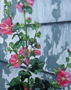 hollyhocks garden original oil painting flower by JaniceTraneJones, $139.00