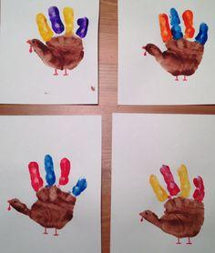 Handprint Turkey Craft 2013 - Thanksgiving Craft - Preschool Craft - Vikings, Bears, Bills and 49ers colors :)