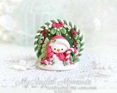 Handcrafted Polymer Clay Christmas Snowman Scene