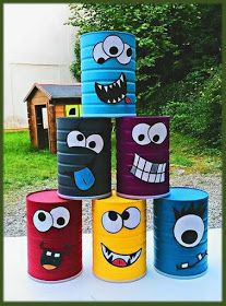 Break the box of little monsters ! - Children's cake diy cardboard Break the bo. - Break the box of little monsters ! – Children's cake diy cardboard Break the box of little mon - Kids Crafts, Tin Can Crafts, Diy And Crafts, Upcycled Crafts, Wood Crafts, Games For Kids, Diy For Kids, Activities For Kids, Indoor Activities