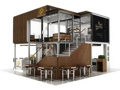 42 Ideas double story shipping container house for Distell Double Storey - Perspective in 2019 Container Coffee Shop, Container Shop, Container House Plans, Container House Design, Shipping Container Restaurant, Shipping Container Design, Container Buildings, Container Architecture, Kiosk Design