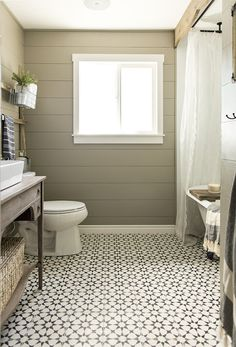 DIY Guest Bathroom transformation using encaustic cement tile