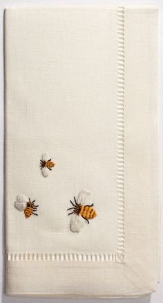 Bumblebee embroidered napkins