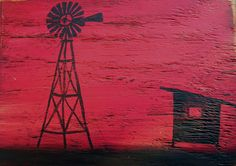 Painting of Windmill on wood