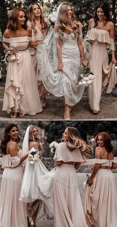 mismatched bridesmaid dresses, modest two piece pink wedding party dresses,  elegant boho beach bridesmaid dresses #beachwedding #bridesmaids