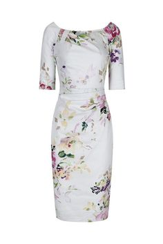 Ivory White Floral 1/2 Sleeve Floral Wiggle Pencil Dress