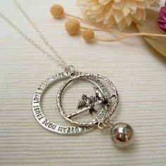 Couple Birds Peace Necklace Silver - One Size