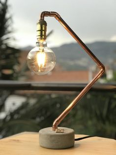 Copper Plumbing Tips And Tricks You Need To Read - Plumbing Tips Concrete Crafts, Concrete Lamp, Light Art, Lamp Light, Cool Lighting, Lighting Design, Luminaria Diy, Lampe Metal, Lampe Tube