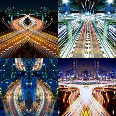 """¡El arte de la iluminación!  """"Graffiti of Speed/Mirror Symmetry"""", es una serie de fotografías de larga exposición capturadas por Shinichi Higashi. ¿Qué te parece?"""