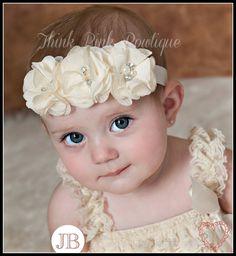 Ivory Baby Headband Baby HeadbandsBaby girl by ThinkPinkBows, $4.95