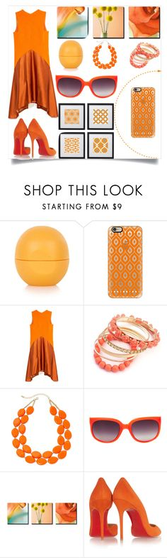 """""""Outgoing Orange"""" by selena-gomezlover ❤ liked on Polyvore featuring Topshop, Casetify, Narciso Rodriguez, Mixit, Matthew Williamson, Christian Louboutin and Universal Lighting and Decor"""