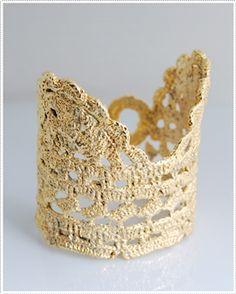 Golden Dipped Lace Crochet Cuff—Killa