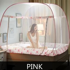 3 Sizes Bi-parting Mosquito Net For Double Bed, Folding Mongolia Bag Mosquito Mesh, Lace Insect Reject Bed Tent Canopy Netting Hanging Bed Canopy, Bed Tent, Canopy Tent, Bed Canopies, Plumbing Pipe Furniture, Mosquito Net, Lace Curtains, Princess Style, Double Beds