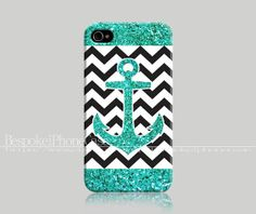 Glitter Anchor iPhone 4s case Anchor iPhone 4 case chevron iPhone 4s case Glitter iPhone 4s case Hard case Image printed Back and Sides by Bespokeiphonecase, $14.99