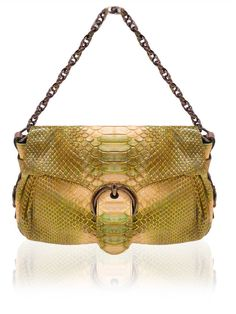 BARBARA BUI Green Beige Python Baguette Bag $750 http://www.boutiqueon57.com/products/barbara-bui-green-beige-python-baguette-bag