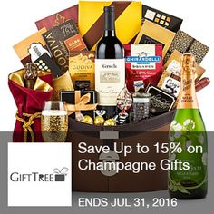 Gift Tree – Save up to 15% on champagne gifts  Save Up to 15% on Champagne Gifts. Ends 7/31/2016  Brought to you by http://www.imin.com and  http://www.imin.com/store-coupons/gift-tree/