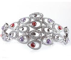 Роскошный браслет усыпанный цирконами в серебре | swarovski bracelet