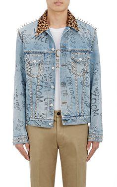 Gucci Leopard-Print Calf-Hair Collar Embellished Trucker Jacket | Barneys New York