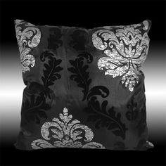 """2X Black Silver Damask Pillow Cases Cushion Covers 17""""   eBay"""