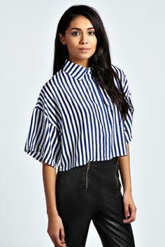 Nicola Oversized Crop Stripey Shirt
