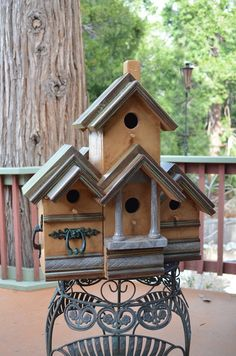 This beautiful piece is my best work yet. It has found a home up in Forest Falls in the yard of a newly built log cabin. The unique old drawer pulls were from cabinets that we refinished and the customer was throwing them away. This great Vintage  Multi Condo Rustic Birdhouse  by BirdhousesByMichele, $275.00 Special order with your choice of colors, different embellishments.