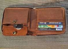 Genuine Leather wallet Men bifold от FocusmanLeather на Etsy