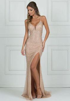 vestido de festa longo nude com brilho Unique Prom Dresses 7523a460451d