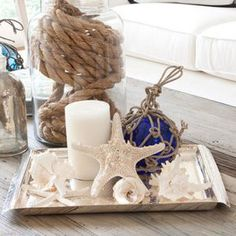 Coastal Cottage Accents (for coffee table) --keep table you have & whitewash it...?