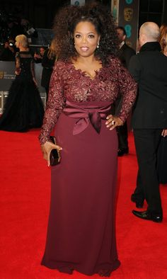 Shop Oprah Winfrey burgundy long-sleeve lace dress at BAFTA 2014 for find Oprah Winfrey dresses and BAFTA red carpet dresses for sale under Winfrey reveals she is 'stitched' into her Stella McCartney gownPlus Size Burgundy Formal Bridesmaids Prom Dresses Long With Sleeves, Lace Dress With Sleeves, The Dress, Latest African Fashion Dresses, African Dresses For Women, Lace Dress Styles, African Traditional Dresses, Frack, Classy Dress