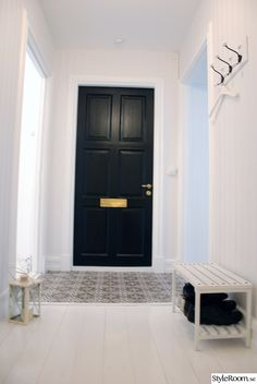 Selection with Hall for design project, see more inspiration here Halle, Marrakech, Street House, Black Doors, Entrance Hall, Mosaic Tiles, My Dream Home, Tall Cabinet Storage, New Homes