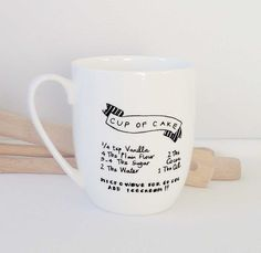 Lost for dessert ideas? Love Chocolate? Late night Snack? No need to find a receipe, it's on the mug! An original hand illustrated design that has been kiln fired Hand wash 12oz I 350ml