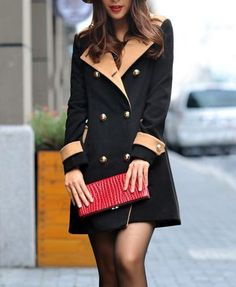 black trench coat/gold button detail