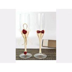 Pahare miri auriu cu rosu Flute, Champagne, Tableware, Decor, Wedding Stuff, Dinnerware, Decoration, Tablewares, Flutes