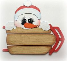 WINTER SNOWMAN WITH SLED CHRISTMAS PAPER PIECING BY MY TEAR BEARS KIRA PREMADE #Handmade