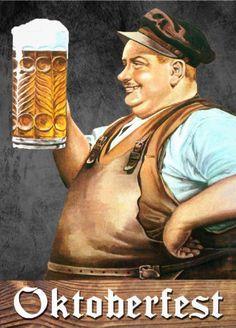 Big jolly man vintage #Oktoberfest_invitations. Easy to customize on the back. Mmmmm.