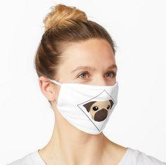 'Cute Pug Face design' Mask by Pienkerbelle Cute Pugs, Face Design, Balaclava, Make A Donation, Pug Life, Young Children, Snug Fit, Masks, Medical