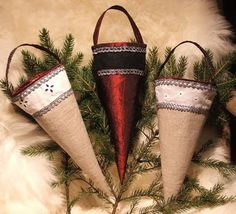 """Kremmerhus - Norwegian """"horns"""" - to put on the Christmas tree and fill with sweets."""