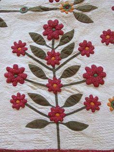 Detail, Folk Art Civil War Era 19th C Antique Stuffwork Tree Applique Quilt Red Green | eBay, vintageblessings