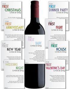 Wine Label 6 pc. Customizable Wedding Gift by AlyaDesignStudio